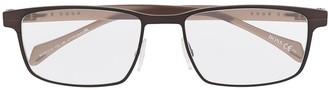 HUGO BOSS Two-Tone Rectangle Frame Eyeglasses