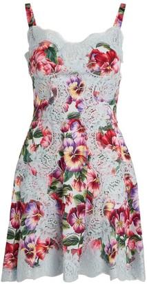Dolce & Gabbana Lace-Trim Floral Dress