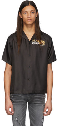 Amiri Black Silk Players Club Bowling Shirt