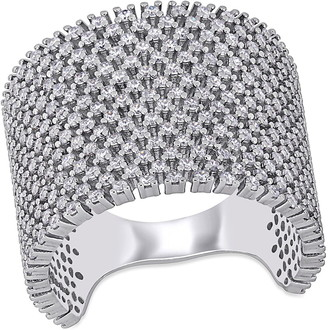 Delmar Sterling Silver Micro Pave CZ Wide Band Ring
