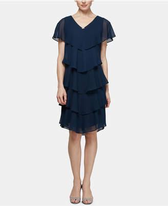 SL Fashions Petite Tiered Rhinestone Capelet Dress