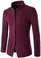 TUNEVUSE Men's Single Breasted Casual Coat Stand Collar Slim Blazer US L