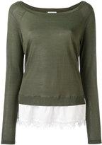 P.A.R.O.S.H. lace trim sweater - women - Silk/Cotton/Spandex/Elastane/Viscose - XS