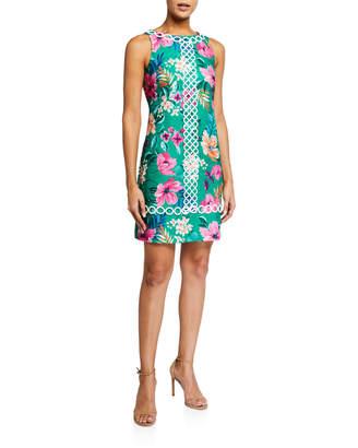 Eliza J Tropical-Print Sleeveless Sheath Dress