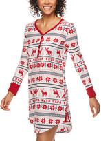 U.S. Polo Assn. Women's Nightgowns IVY - Ivory Fair Isle Waffle-Knit Button-Front Sleep Dress - Women