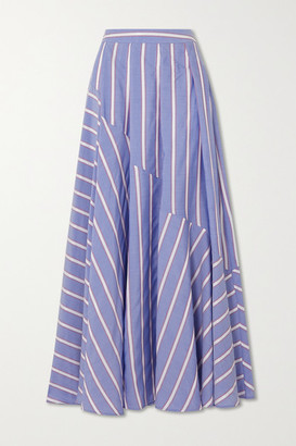 Palmer Harding palmer//harding - Pleated Striped Lyocell-blend Maxi Skirt - Blue