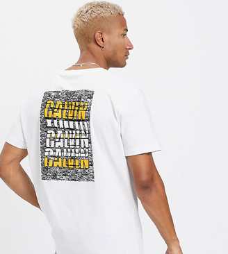 Calvin Klein Jeans ASOS exclusive oversized t-shirt with back print white noise logo in white