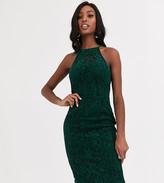 Paper Dolls Tall velvet lace midi dress in bottle green