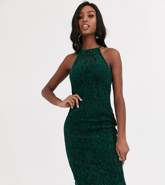 Paper Dolls Tall velvet lace midi dress in bottle green