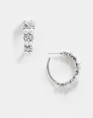True Decadence hoop earrings in pearl and crystal embellishment
