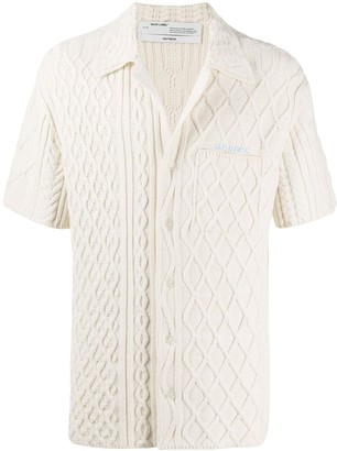 Off-White Cable Knit Short-Sleeved Cardigan