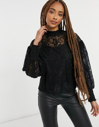 Pimkie sleeve detail high-neck lace top in black