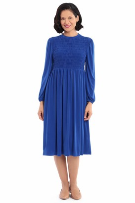 London Times Women's Solid Jersey Long Sleeve Smocking Detail Midi Casual Dress