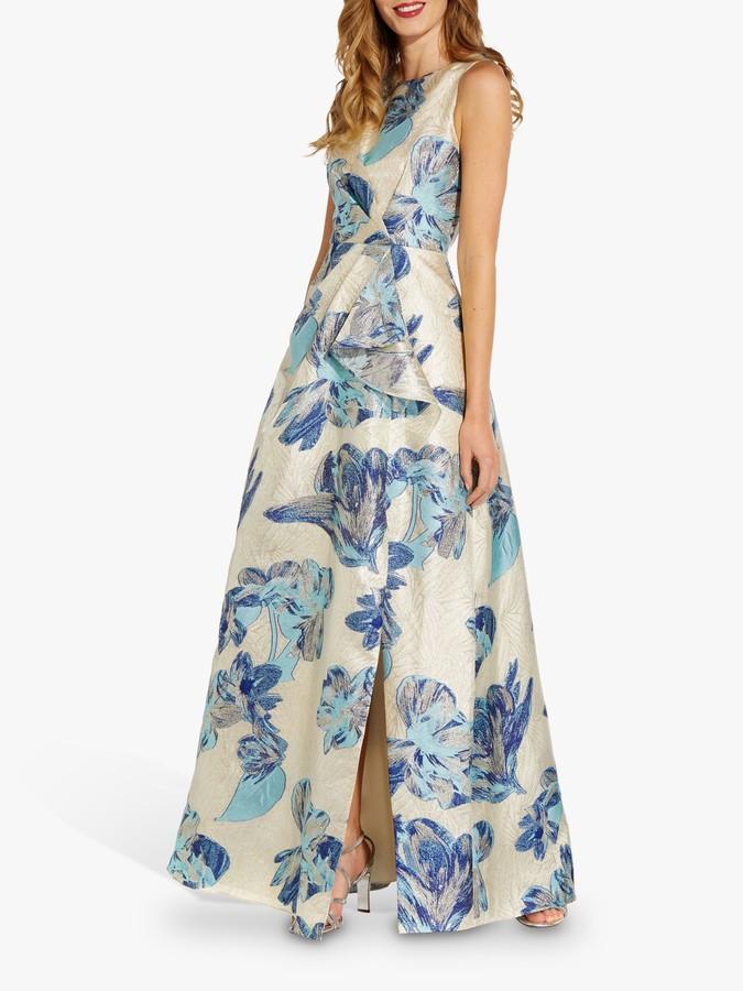 Adrianna Papell Halterneck Gown, Parisian Blue/Gold