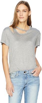 EVIDNT Women's Cut Out Shoulder Distressed Slit T-Shirt