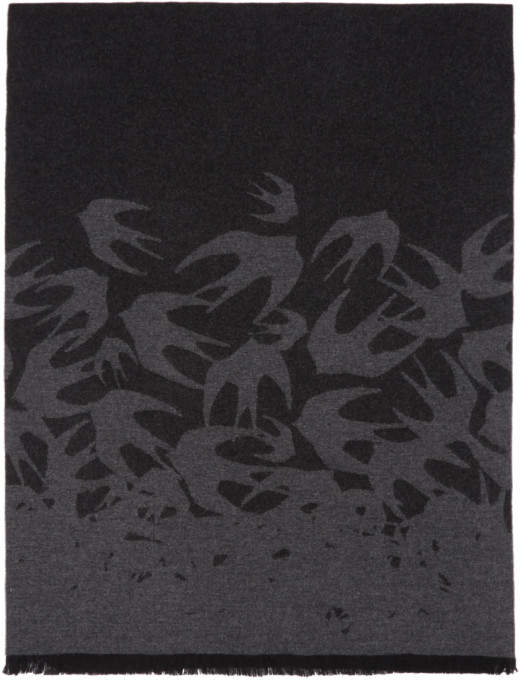McQ Black and Grey Swallows Degrade Scarf