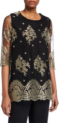 Caroline Rose Petite Luxury Lace 3/4-Sleeve Tunic