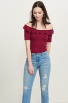 Dynamite Ribbed Off-The-Shoulder Ruffle Top
