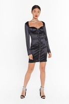 Nasty Gal Womens You'Re Off The Hook And Eye Satin Mini Dress - Black - 6, Black