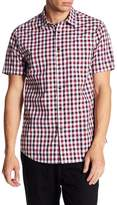 Micros Boysenberry Short Sleeve Woven Dobby Plaid Shirt
