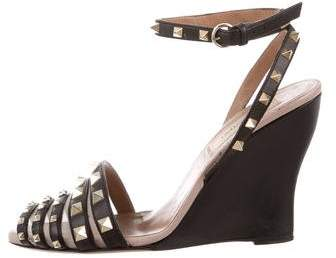 Valentino Leather Rockstud Wedges