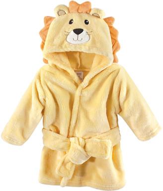 Luvable Friends Boys' Bath Robes Lion - Yellow Lion Plush Hooded Robe - Newborn