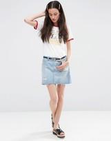 Asos Denim Pelmet Skirt Mid Wash Blue with Abrasions and Raw Hem
