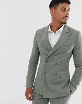 Asos DESIGN super skinny double breasted suit jacket in green wool blend mini check