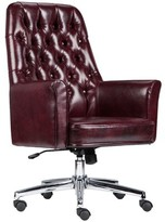 Mid-Back Traditional Tufted Swivel with Arms Executive Chair Alcott Hill Upholstery Color: Burgundy