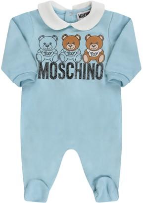 Moschino Light Blue Babygrow With Teddy Bears For Baby Boy