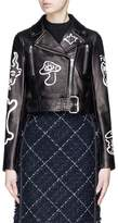 LOUSY x Lane Crawford Hand painted belted plonge lambskin leather cropped biker jacket