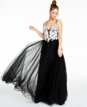 Thumbnail for your product : Blondie Nites Juniors' Floral-Applique Gown
