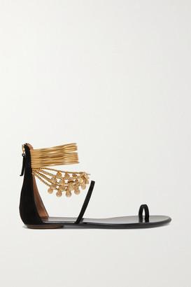 Aquazzura Queen Of The Desert Embellished Suede Sandals - Black