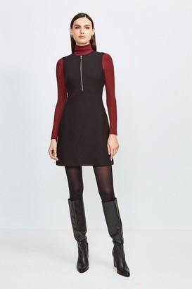Karen Millen Zip Front Sharp Seam A Line Dress