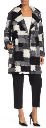 Lola Made In Italy Check Print Faux Shearling Coat