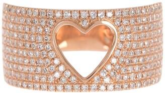 Ron Hami 14K Rose Gold Pave Diamond Heart Cutout Ring - 0.71 ctw - Size 7