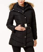 Tommy Hilfiger Petite Faux-Fur-Trim Layered Belted Puffer Coat