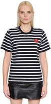 Markus Lupfer Lips Patch Striped Cotton Jersey T-Shirt