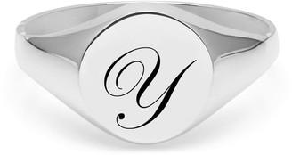 Myia Bonner Initial Y Silver Edwardian Signet Ring