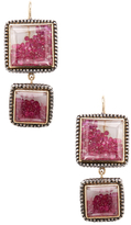 Moritz Glik 18K Yellow Gold, Silver & Ruby Geometric Drop Earrings