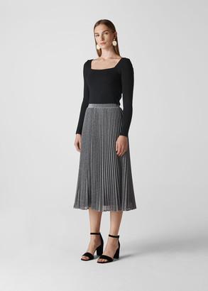 Longline Sparkle Pleated Skirt
