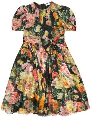 Dolce & Gabbana Kids Floral silk chiffon dress