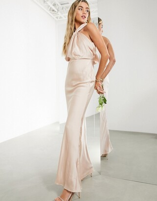 ASOS EDITION satin ruched halter neck maxi dress in blush