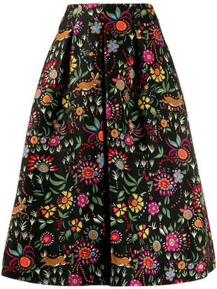 La DoubleJ x Mantero floral flared midi skirt