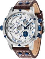 Police Adder White Multi Dial Blue Accents Brown Leather Strap Mens Watch