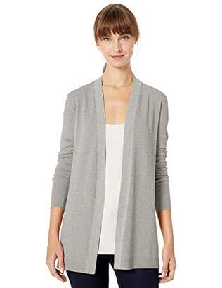 Lark & Ro Lightweight Long Sleeve Mid-Length Cardigan Sweater, Heather Grey, L