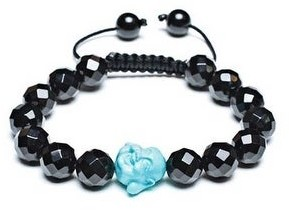 Bling Jewelry Craved Blue Buddha Black Faceted Ball Bead Bracelet Adjustable Cord