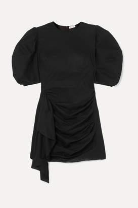 Rhode Resort Pia Ruched Cotton-voile Mini Dress - Black
