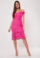 Missguided Pink Floral Lace Bardot Midi Dress