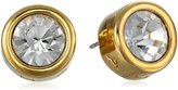 T Tahari Gold and Crystal Signature Stud Earrings